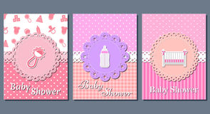 Baby girl shower cards. Vector illustration. Stock Photos