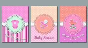 Baby girl shower cards. Vector. Baby shower cards. Set cute invitation templates for girl baby shower party. Vector illustration Stock Photography