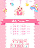 Baby girl shower care with place for your text Stock Images