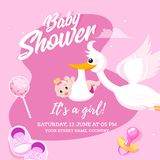 Baby Girl Shower celebration invitation card design with Stork lifting baby and event details. Baby Girl Shower celebration invitation card design with Stork stock illustration