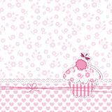 Baby girl shower with cupcake Royalty Free Stock Photography