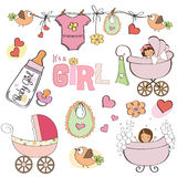 Baby girl shower elements set stock illustration