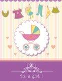 Baby Girl Shower Invitation Card. Stock Photos