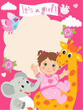 Baby girl shower invitation card with funny giraffe, elephant. Stock Photography