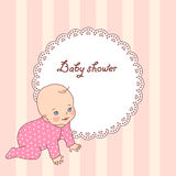 Baby girl shower. Pretty vintage baby shower card for girl Stock Images