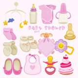 Baby girl shower set. Stock Photography