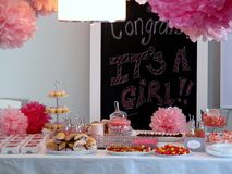 Baby girl shower table Stock Image