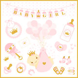 Baby girl shower vector set of design elements. Royalty Free Stock Photography