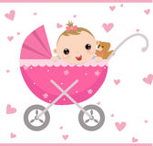 Baby girl sitting in carriage stock illustration