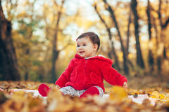 Baby girl sitting in fallen leaves Stock Photography