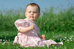 Baby girl sitting in a field Royalty Free Stock Photo
