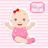 Baby girl sitting, holding out hands, smiling. stock illustration