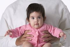 Baby Girl  Sitting On Mothers Lap Stock Photo