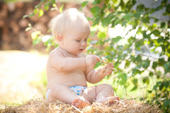 Baby girl sitting on straw Stock Photo