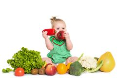 Baby girl sitting surrounded by fruits and vegetables, isolated on white stock photo