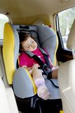 Baby Girl Sleeping in Car Seat Stock Photos