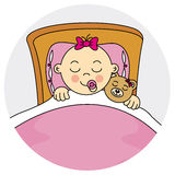 Baby girl sleeping Stock Image