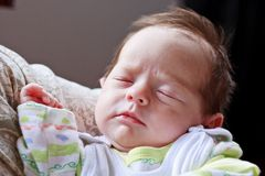Baby girl sleeping and dreaming Royalty Free Stock Image