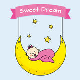 Baby girl sleeping. On the moon Royalty Free Stock Image