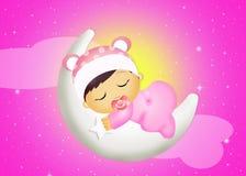 Baby girl sleeping on the moon Royalty Free Stock Photography