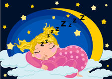 Baby girl sleeping in the moon. Illustrations concept Royalty Free Stock Photos