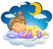 Baby girl sleeping at night. Illustration Royalty Free Stock Photo