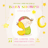 Baby Girl Sleeping with a Pillow - Baby Shower or Arrival Card Royalty Free Stock Photography
