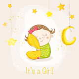 Baby Girl Sleeping with a Pillow - Baby Shower Card Royalty Free Stock Photography
