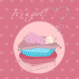 Baby Girl Sleeping on Pillows Card Stock Photography