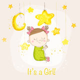 Baby Girl Sleeping on a Star - Baby Shower or Arrival Card. In vector Royalty Free Stock Photo