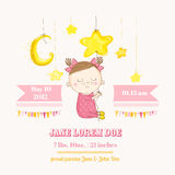 Baby Girl Sleeping on a Star - Baby Shower or Arrival Card. In vector Royalty Free Stock Photography