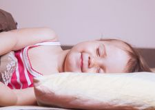 Baby girl sleeping sweet dream Sleep, health treatment. Baby girl sleeping sweet dream royalty free stock photography