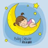 Baby girl sleeping on top of the moon. Baby boy sleeping on top of the moon Stock Photography