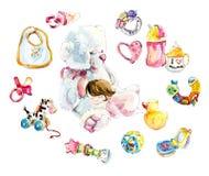 Baby-girl sleeps on a big polar teddy bear. Watercolor hand drawn illustration stock illustration