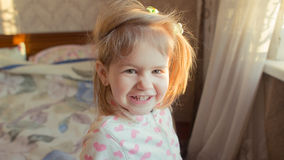 Baby girl smile. Closeup of cute beautiful smiling baby girl two years old Royalty Free Stock Photo