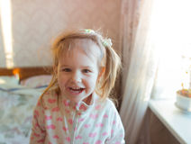 Baby girl smile. Closeup of cute beautiful smiling baby girl two years old Royalty Free Stock Image
