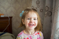 Baby girl smile. Closeup of cute beautiful smiling baby girl two years old Stock Photos