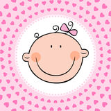 Baby girl. Smiling face of newborn baby girl. Vector illustration Royalty Free Stock Images