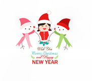 Baby girl and snowman wearing scarf christmas Royalty Free Stock Photography