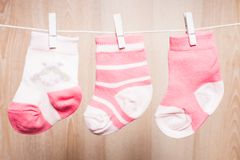 Baby girl socks Stock Image