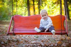Baby girl spending time outdoor Royalty Free Stock Photo