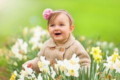 Baby girl in spring Royalty Free Stock Photography