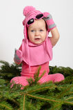 Baby Girl on Spruce Needles Stock Photography