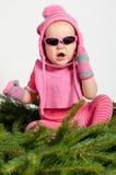 Baby Girl on Spruce Needles Royalty Free Stock Image