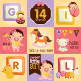 Baby Girl Square. A vector about baby girl and toys Stock Photo