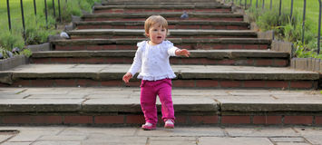 Baby girl on stairs Royalty Free Stock Photography