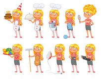 Baby girl stands in same pose and holds a various objects. Parts of body template for design work and animation. Funny cartoon character. Vector illustration Royalty Free Stock Photography