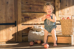 Baby Girl stands and Smiles near Wooden Barn. Baby Girl Caucasian One Year Old stands and Smiling near Wooden Barn or House with Sack, Box and Basket with Apples Stock Image