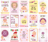 Baby Girl Stepping Stone Cards Royalty Free Stock Photo