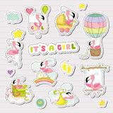 Baby Girl Stickers for Baby Shower Party Celebration. Decorative Elements for Newborn with Cute Flamingo. Vector illustration Stock Image